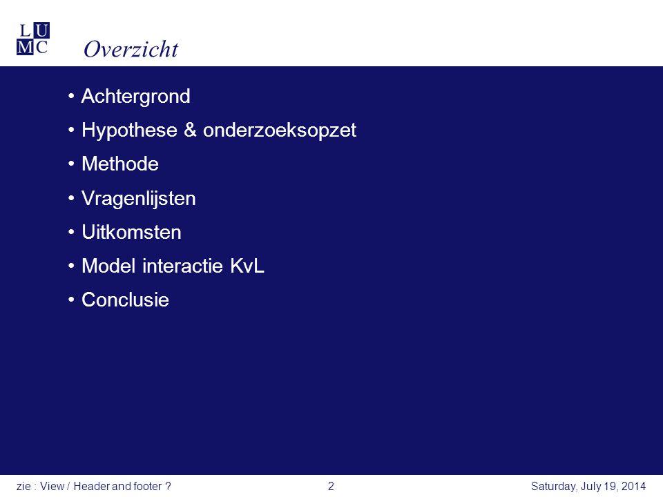 Overzicht Achtergrond Hypothese & onderzoeksopzet Methode