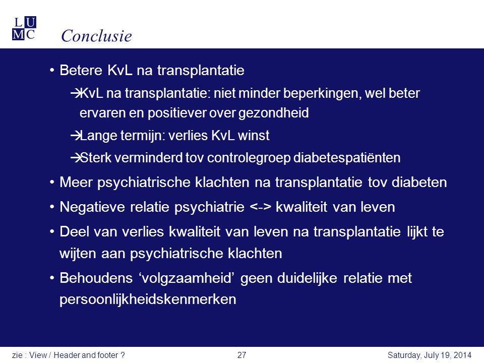 Conclusie Betere KvL na transplantatie