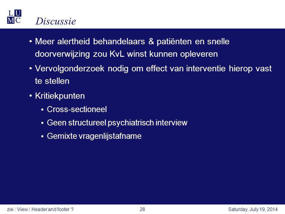 Discussie Meer alertheid behandelaars & patiënten en snelle doorverwijzing zou KvL winst kunnen opleveren.