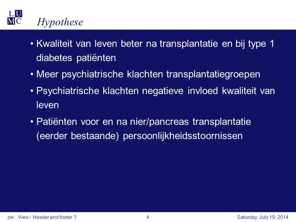 Hypothese Kwaliteit van leven beter na transplantatie en bij type 1 diabetes patiënten. Meer psychiatrische klachten transplantatiegroepen.