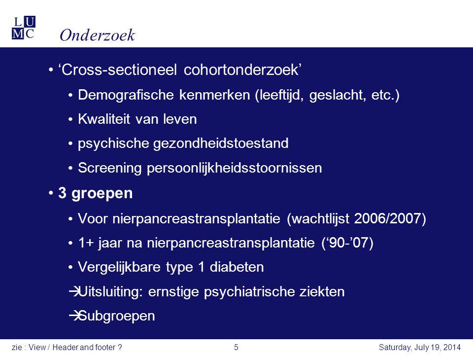 Onderzoek 'Cross-sectioneel cohortonderzoek' 3 groepen