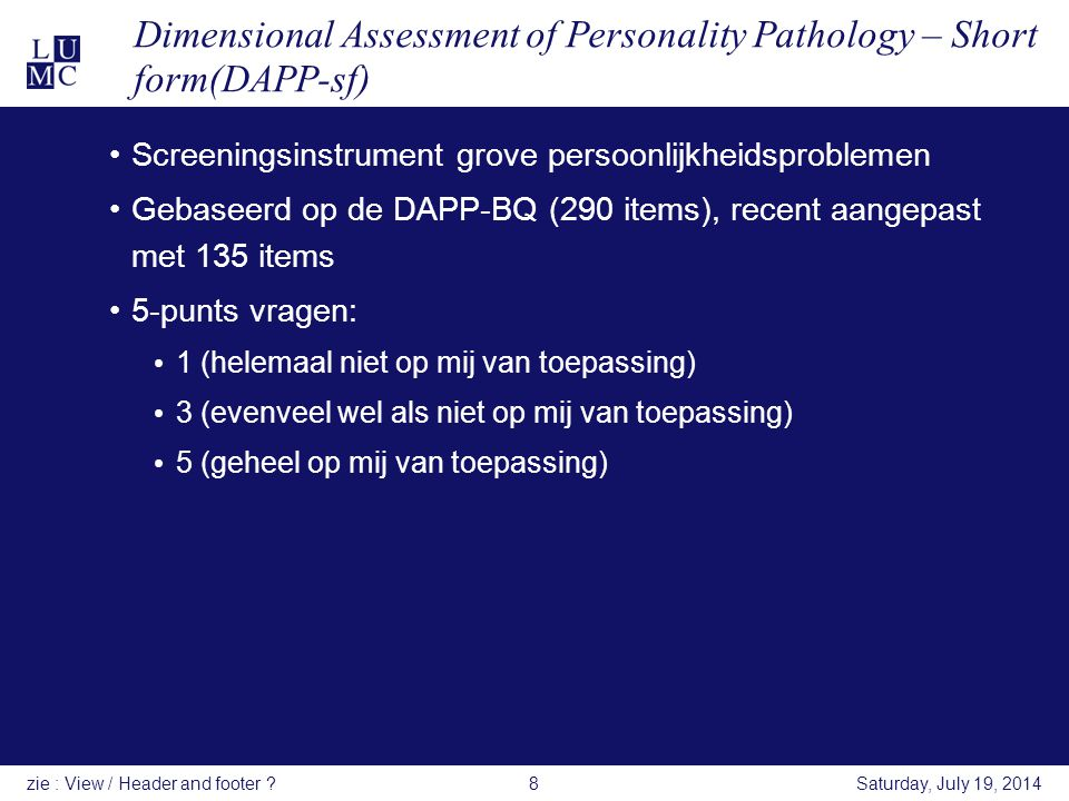 Dimensional Assessment of Personality Pathology – Short form(DAPP-sf)