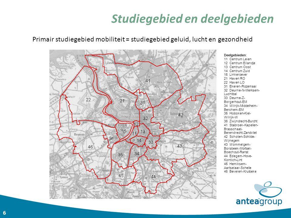 Studiegebied en deelgebieden