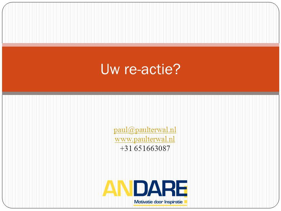 Uw re-actie paul@paulterwal.nl www.paulterwal.nl +31 651663087