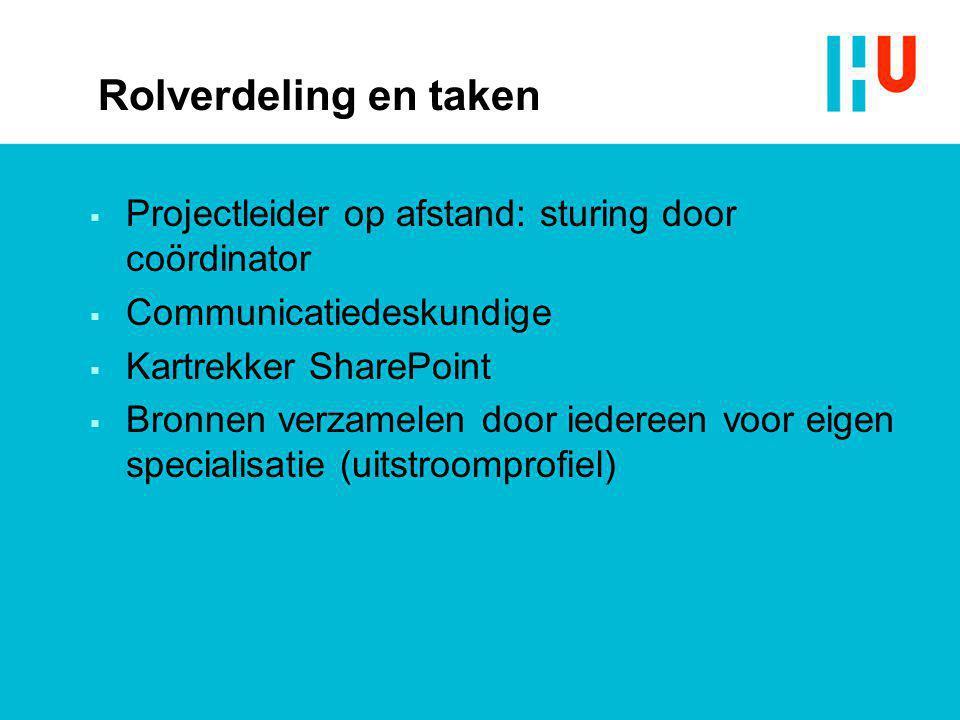 Rolverdeling en taken Projectleider op afstand: sturing door coördinator. Communicatiedeskundige. Kartrekker SharePoint.