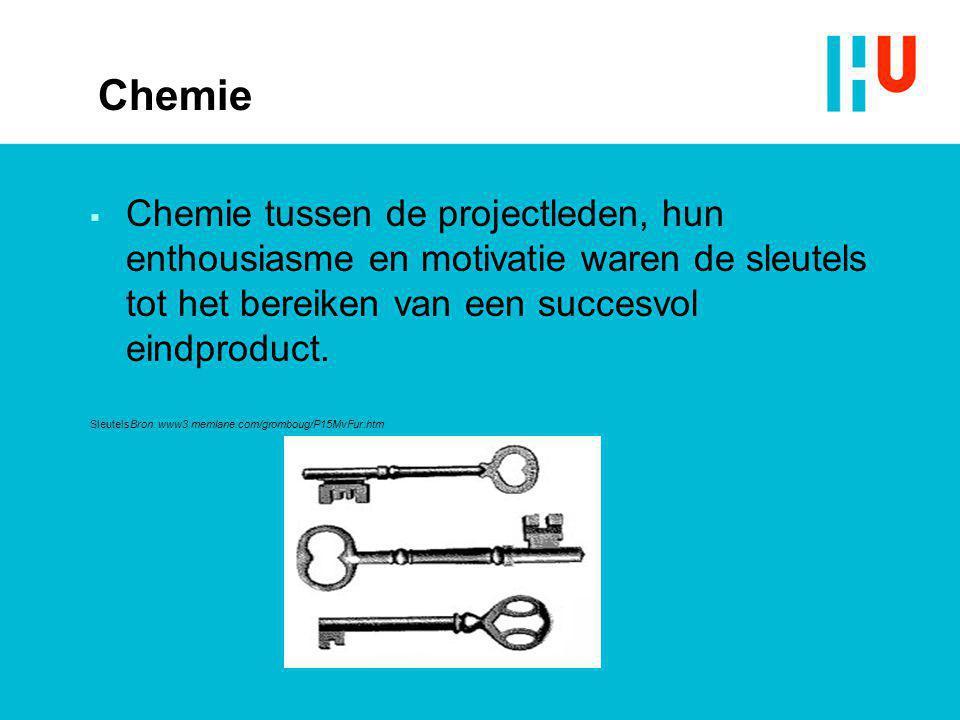Chemie Chemie tussen de projectleden, hun enthousiasme en motivatie waren de sleutels tot het bereiken van een succesvol eindproduct.