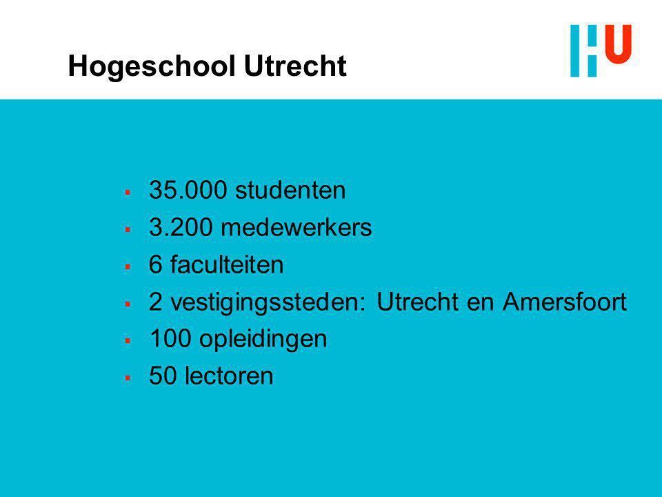 Hogeschool Utrecht 35.000 studenten 3.200 medewerkers 6 faculteiten
