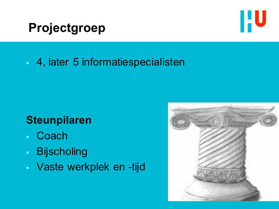 Projectgroep 4, later 5 informatiespecialisten Steunpilaren Coach