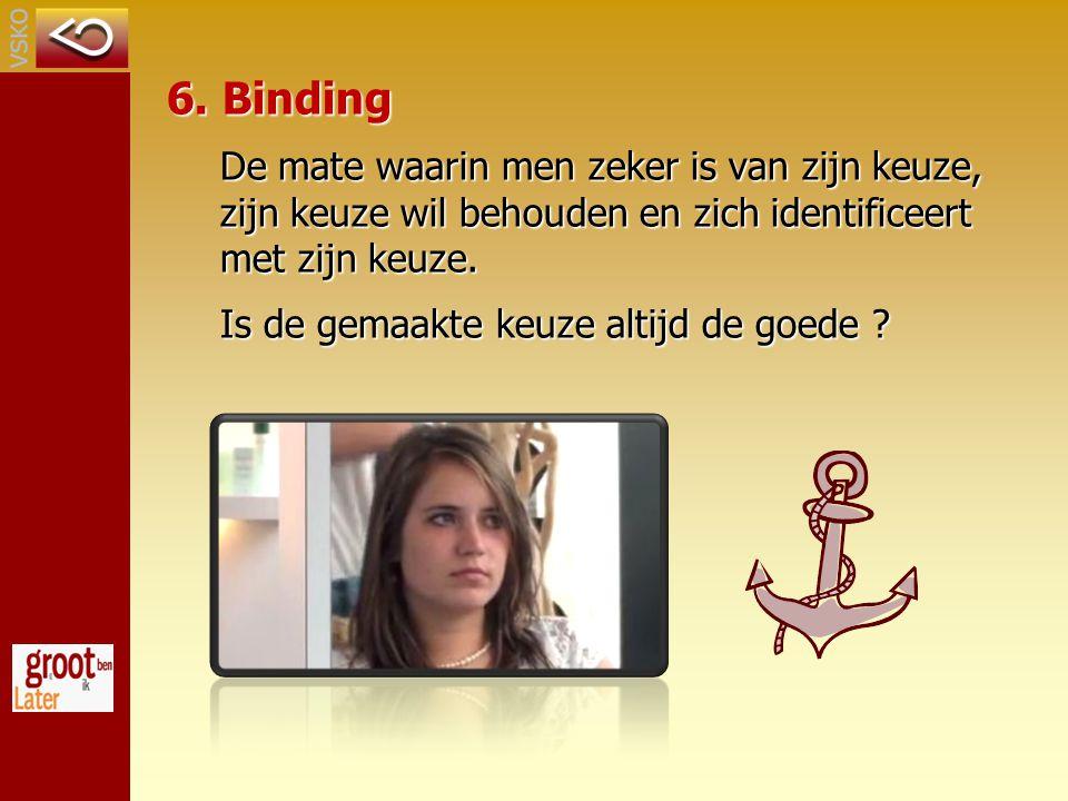 6. Binding De mate waarin men zeker is van zijn keuze, zijn keuze wil behouden en zich identificeert met zijn keuze.
