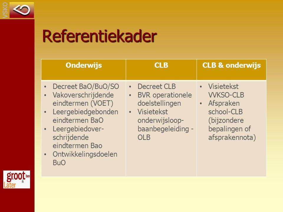 Referentiekader Onderwijs CLB CLB & onderwijs Decreet BaO/BuO/SO
