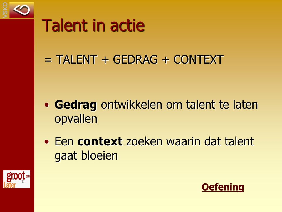 Talent in actie = TALENT + GEDRAG + CONTEXT