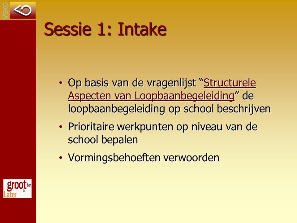Sessie 1: Intake Op basis van de vragenlijst Structurele Aspecten van Loopbaanbegeleiding de loopbaanbegeleiding op school beschrijven.