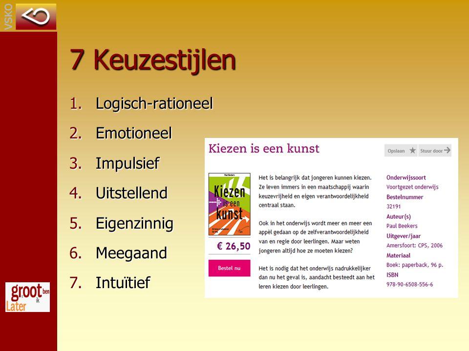 7 Keuzestijlen Logisch-rationeel Emotioneel Impulsief Uitstellend
