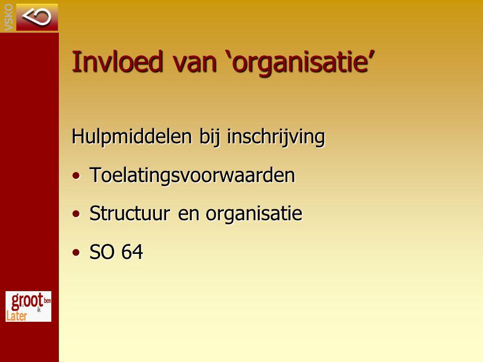 Invloed van 'organisatie'