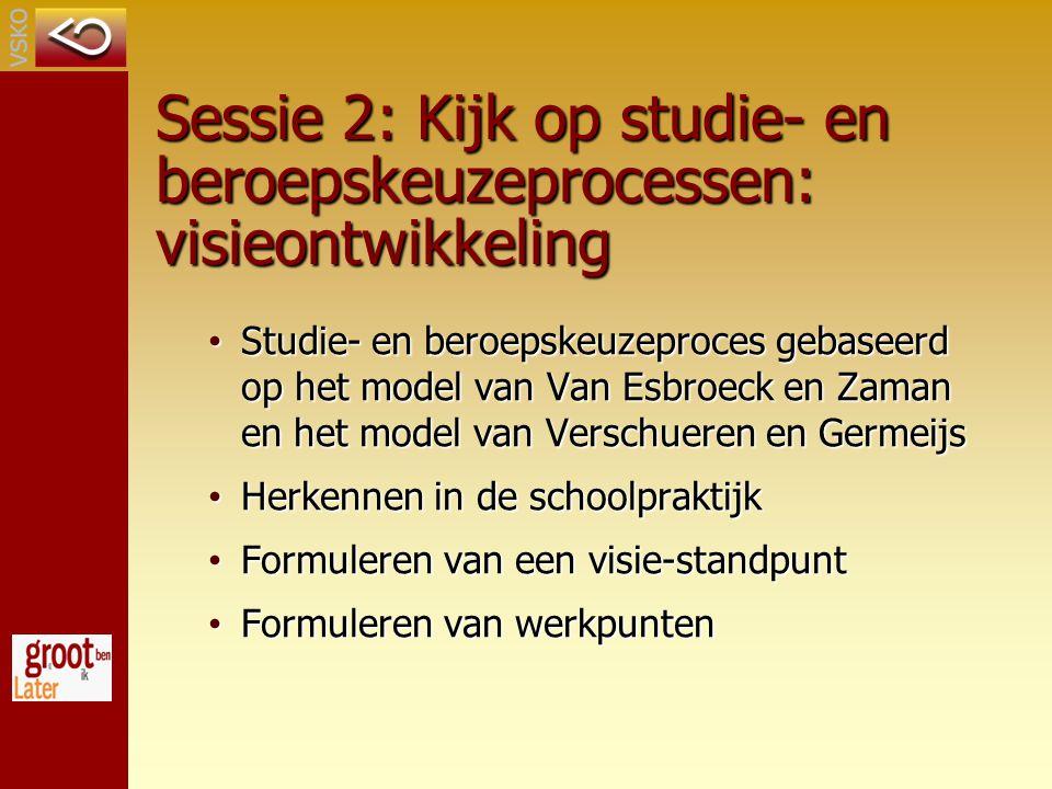 Sessie 2: Kijk op studie- en beroepskeuzeprocessen: visieontwikkeling