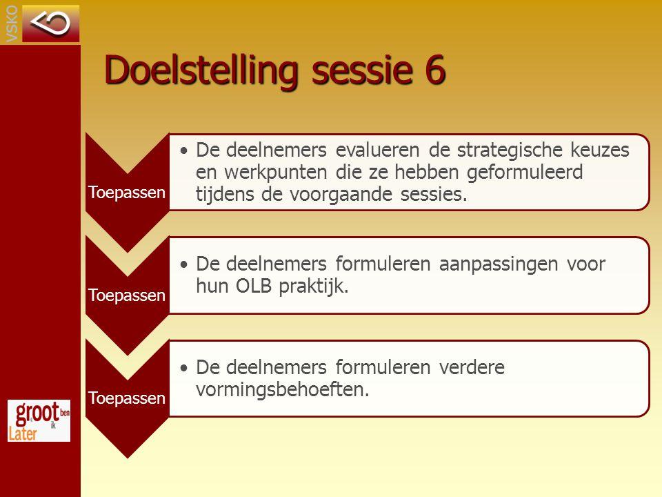 Doelstelling sessie 6 Toepassen.