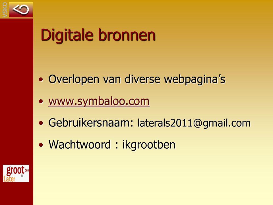 Digitale bronnen Overlopen van diverse webpagina's www.symbaloo.com