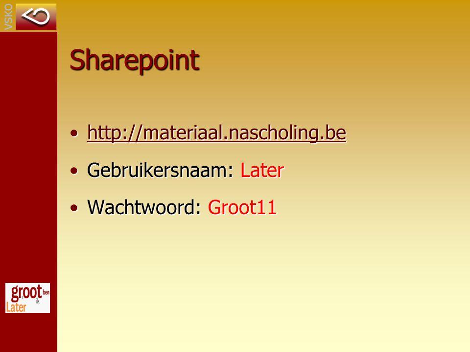 Sharepoint http://materiaal.nascholing.be Gebruikersnaam: Later
