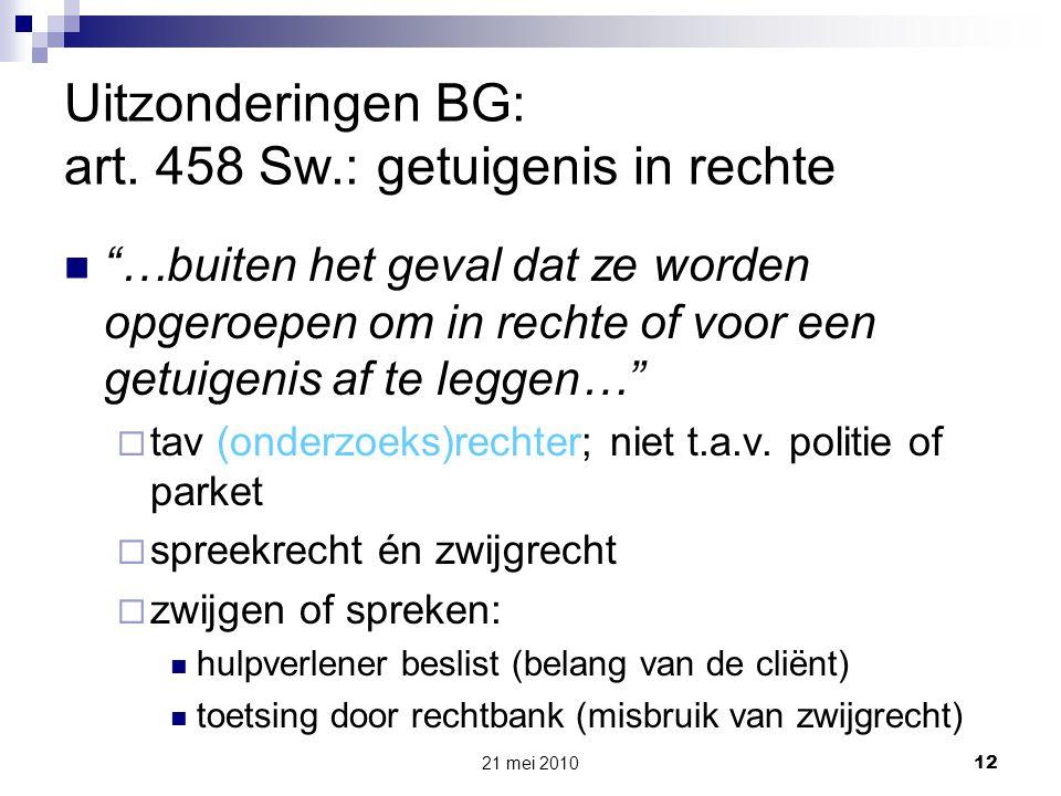 Uitzonderingen BG: art. 458 Sw.: getuigenis in rechte