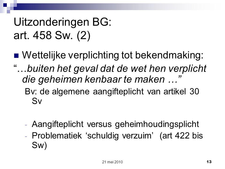 Uitzonderingen BG: art. 458 Sw. (2)