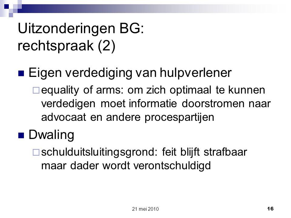 Uitzonderingen BG: rechtspraak (2)
