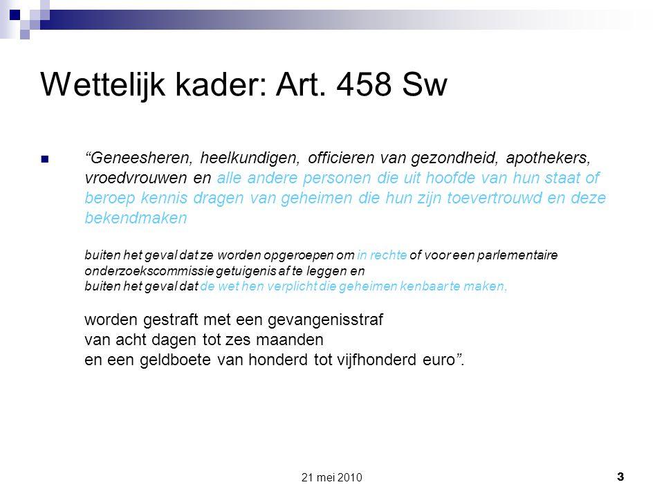 Wettelijk kader: Art. 458 Sw
