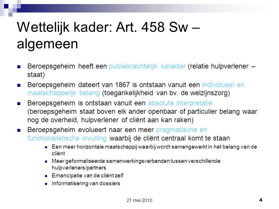 Wettelijk kader: Art. 458 Sw – algemeen