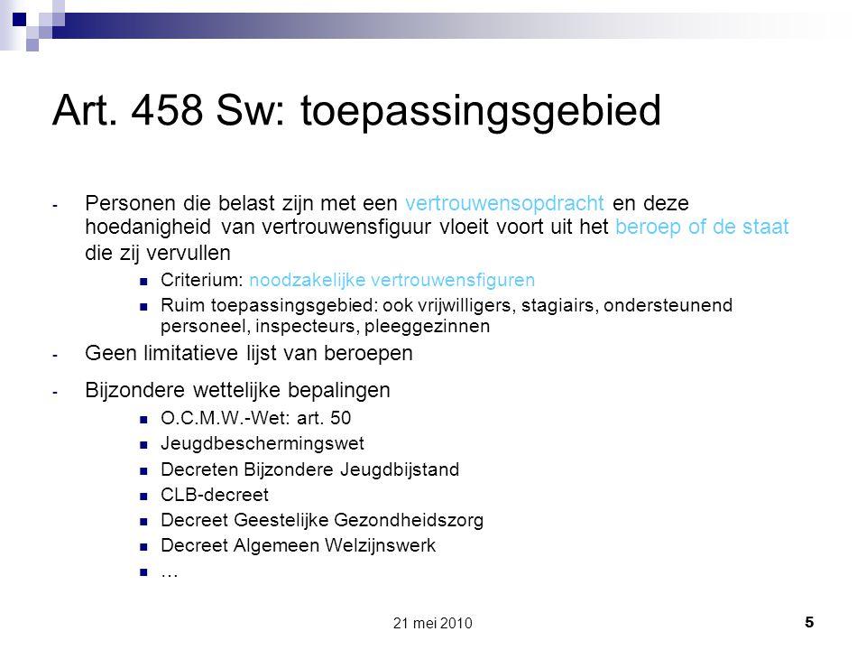 Art. 458 Sw: toepassingsgebied