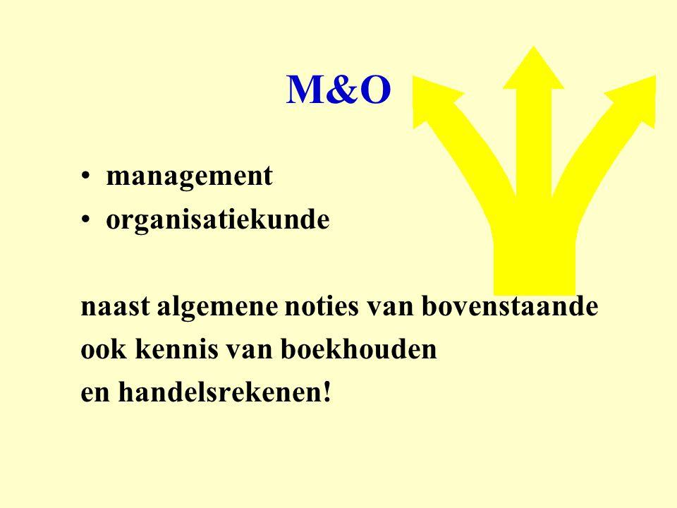 M&O management organisatiekunde naast algemene noties van bovenstaande