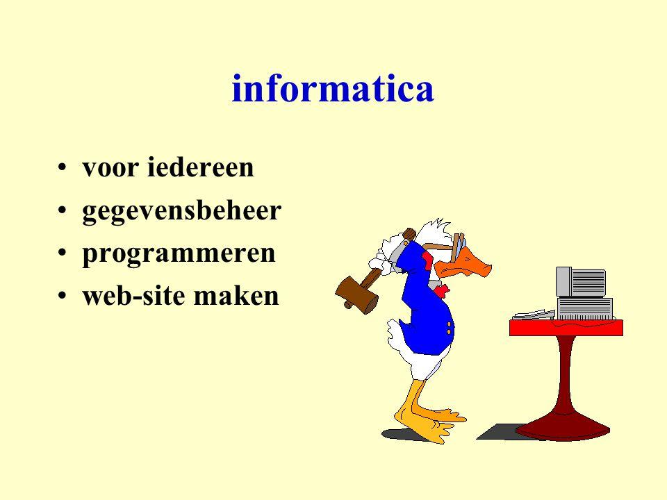 informatica voor iedereen gegevensbeheer programmeren web-site maken