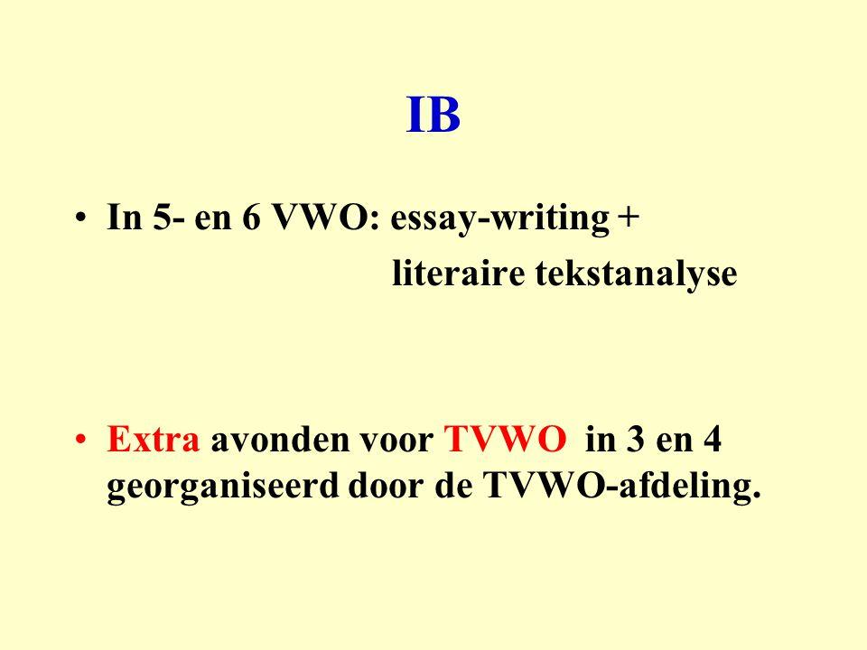 IB In 5- en 6 VWO: essay-writing + literaire tekstanalyse