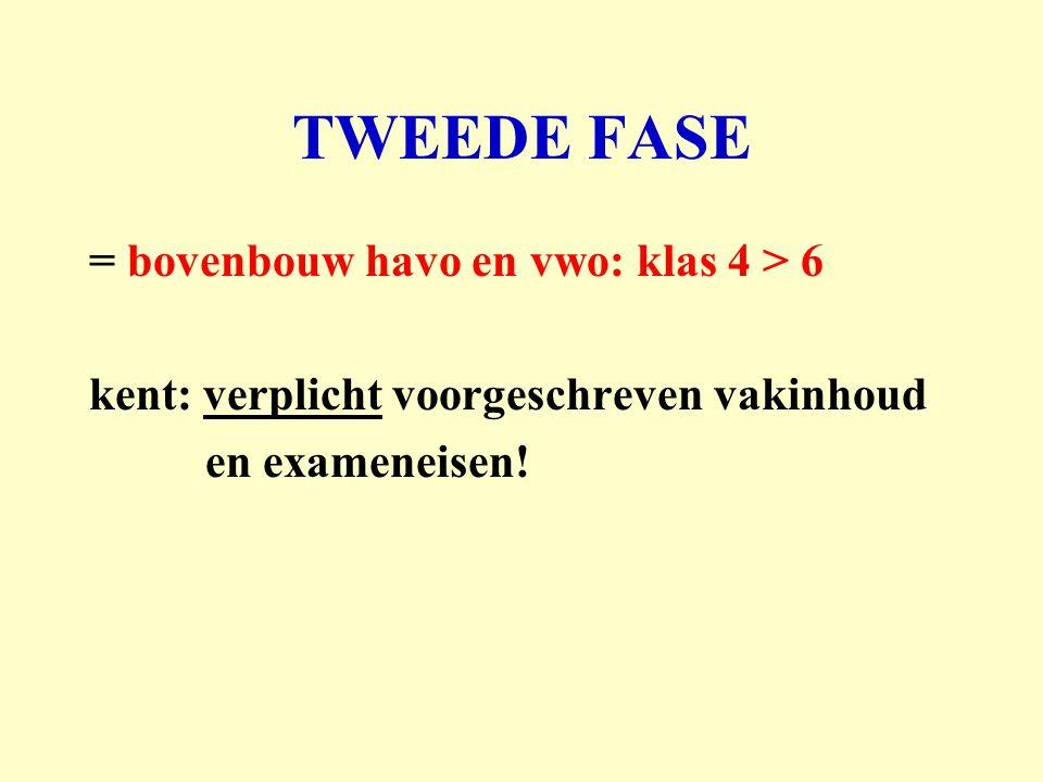 TWEEDE FASE = bovenbouw havo en vwo: klas 4 > 6