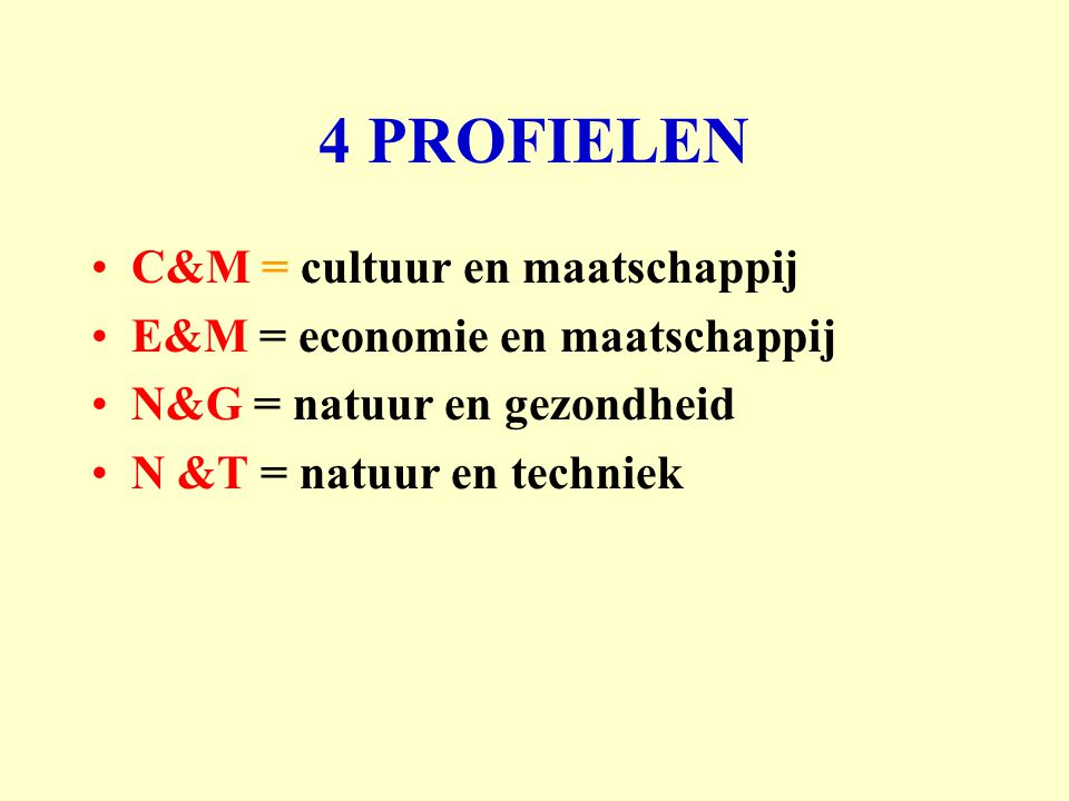 4 PROFIELEN C&M = cultuur en maatschappij