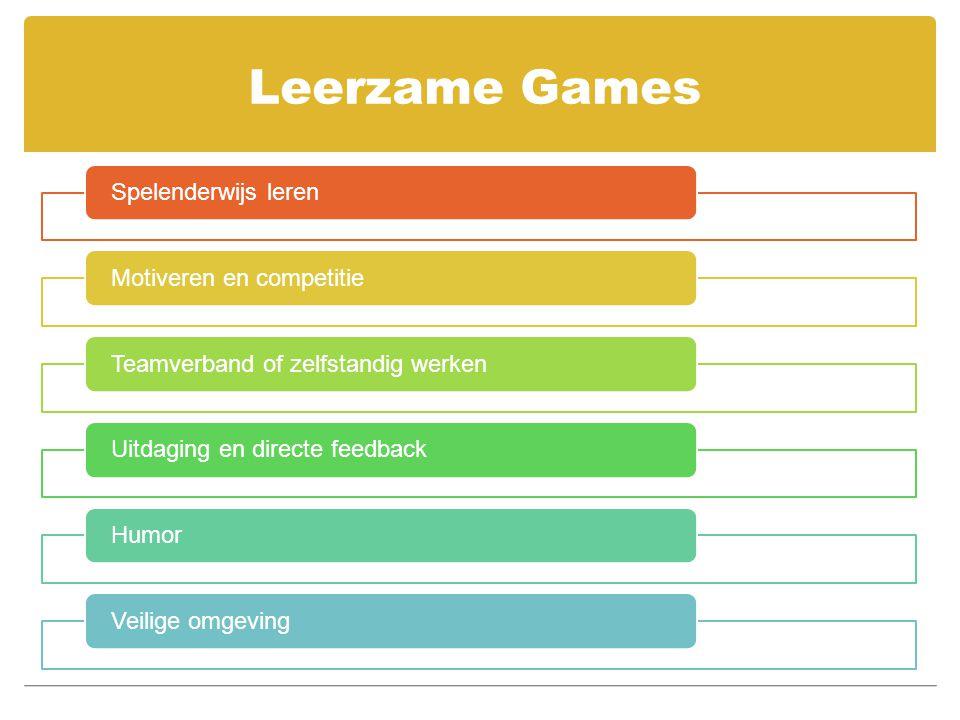Leerzame Games Spelenderwijs leren Motiveren en competitie