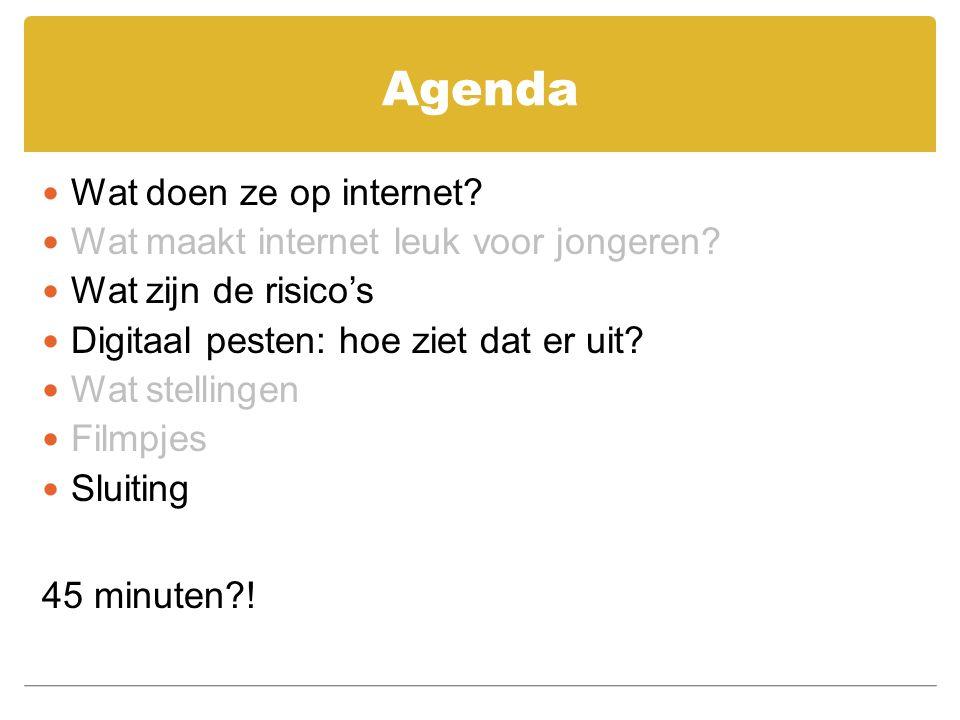 Agenda Wat doen ze op internet Wat maakt internet leuk voor jongeren