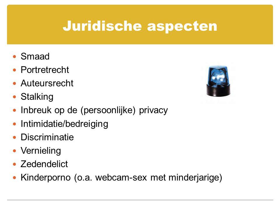 Juridische aspecten Smaad Portretrecht Auteursrecht Stalking