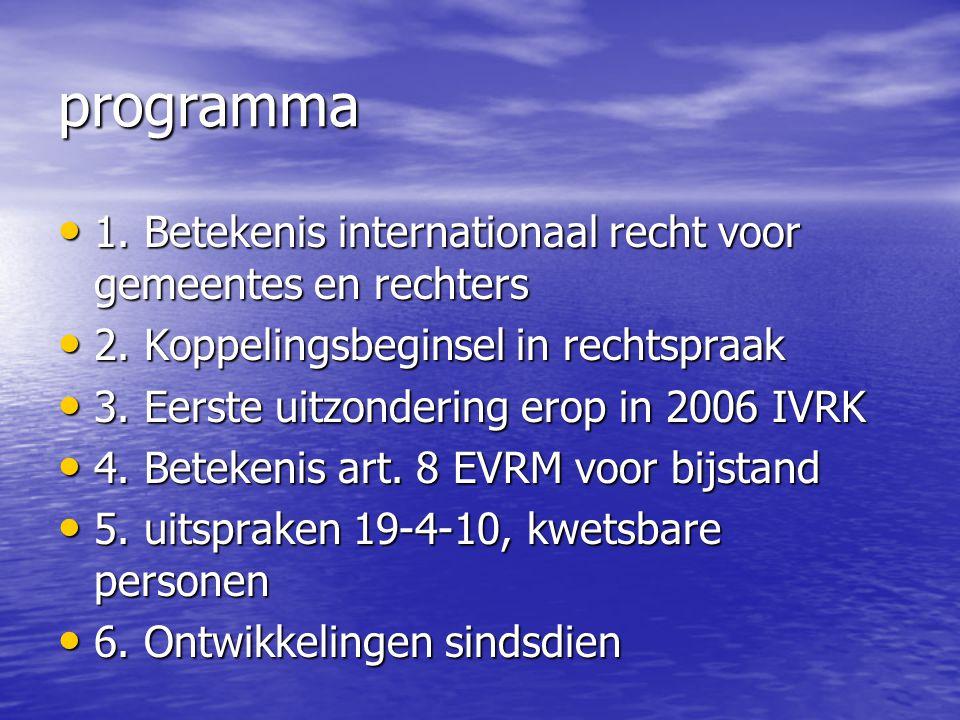 programma 1. Betekenis internationaal recht voor gemeentes en rechters