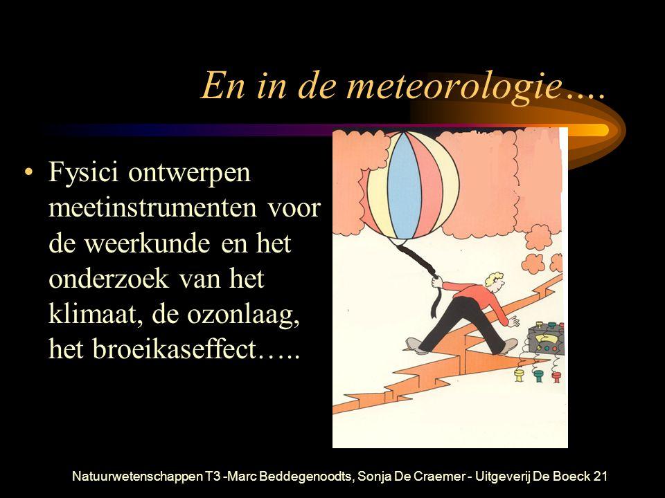 En in de meteorologie…. Fysici ontwerpen meetinstrumenten voor de weerkunde en het onderzoek van het klimaat, de ozonlaag, het broeikaseffect…..