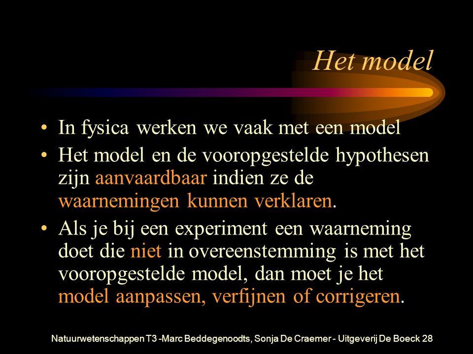 Het model In fysica werken we vaak met een model
