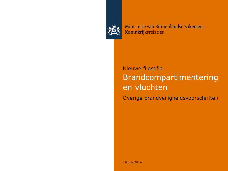 Nieuwe filosofie Brandcompartimentering en vluchten Overige brandveiligheidsvoorschriften