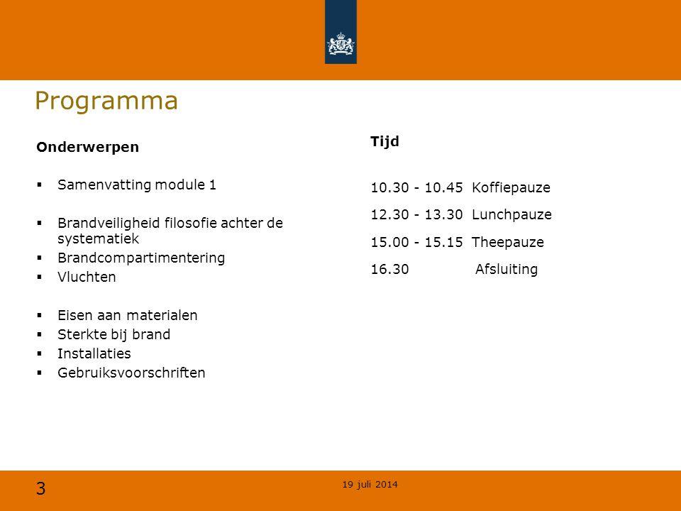 Programma Tijd 10.30 - 10.45 Koffiepauze 12.30 - 13.30 Lunchpauze 15.00 - 15.15 Theepauze 16.30 Afsluiting