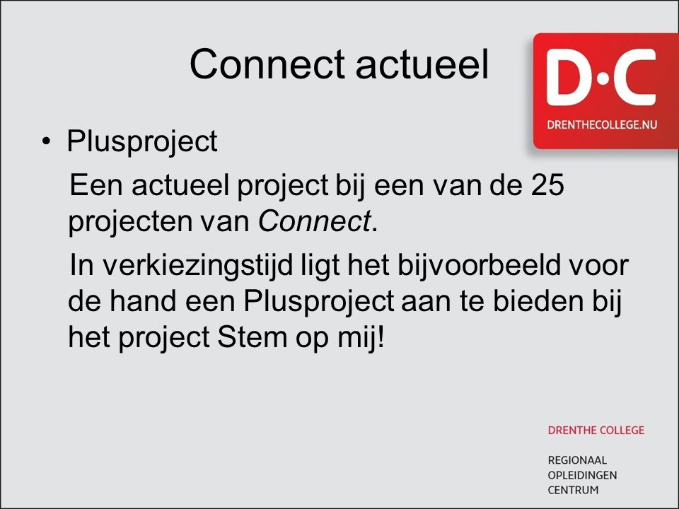 Connect actueel Plusproject