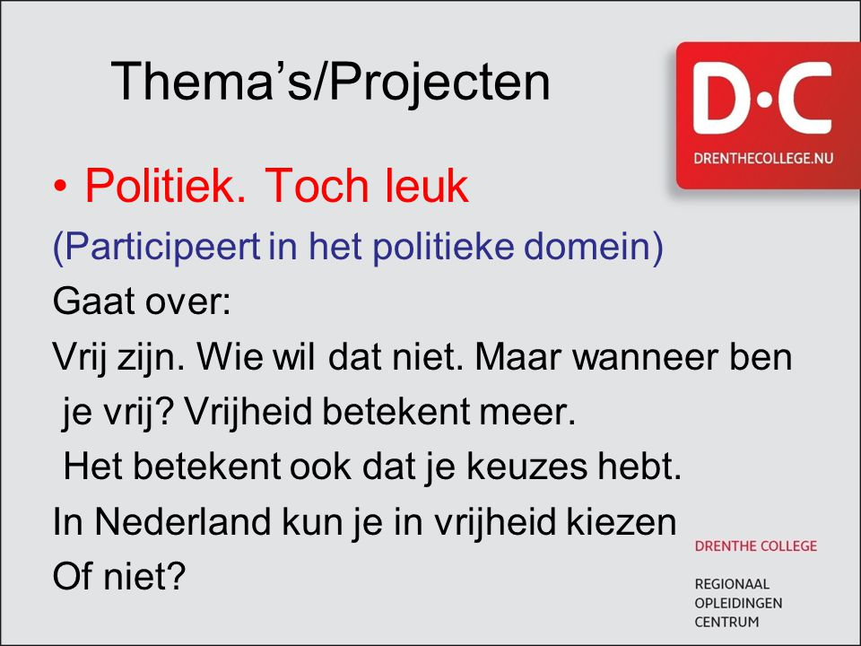 Thema's/Projecten Politiek. Toch leuk