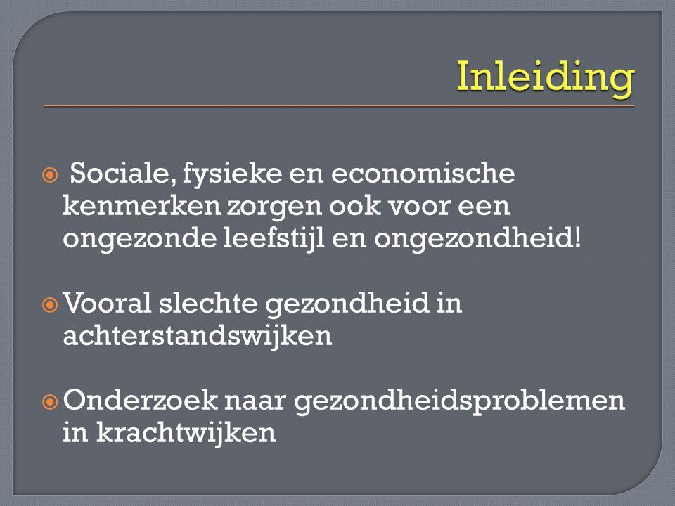 Inleiding Sociale, fysieke en economische kenmerken zorgen ook voor een ongezonde leefstijl en ongezondheid!