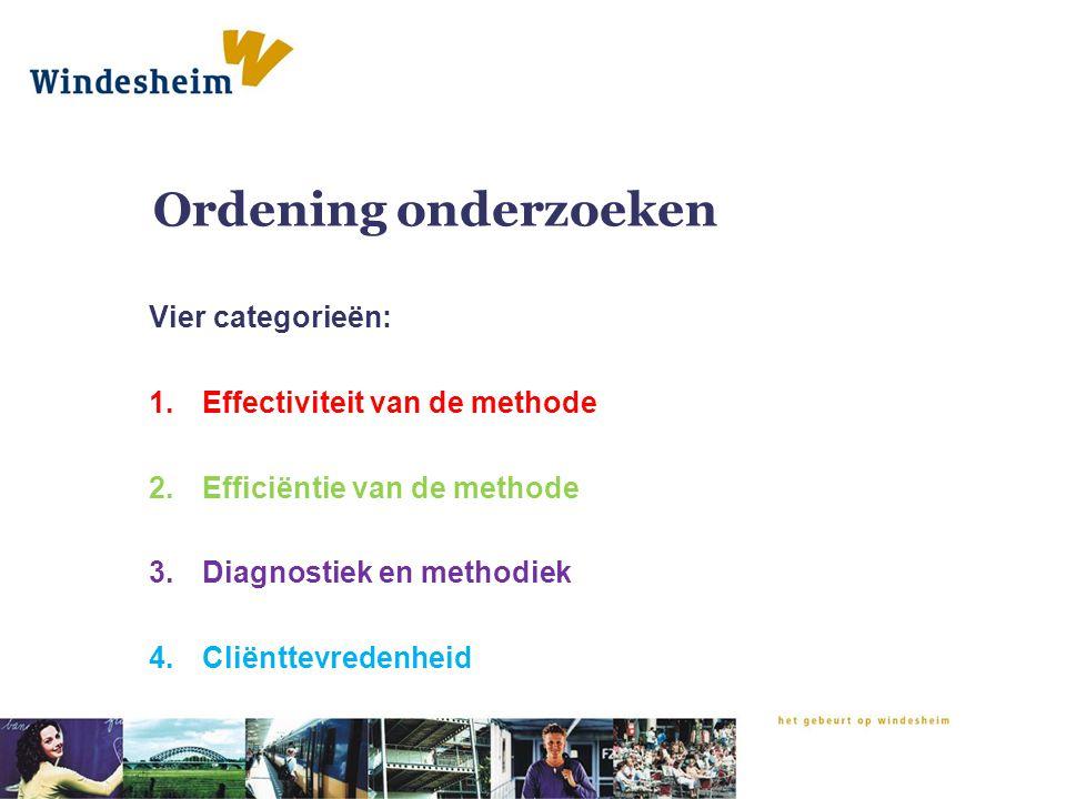 Ordening onderzoeken Vier categorieën: Effectiviteit van de methode