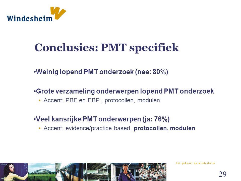 Conclusies: PMT specifiek