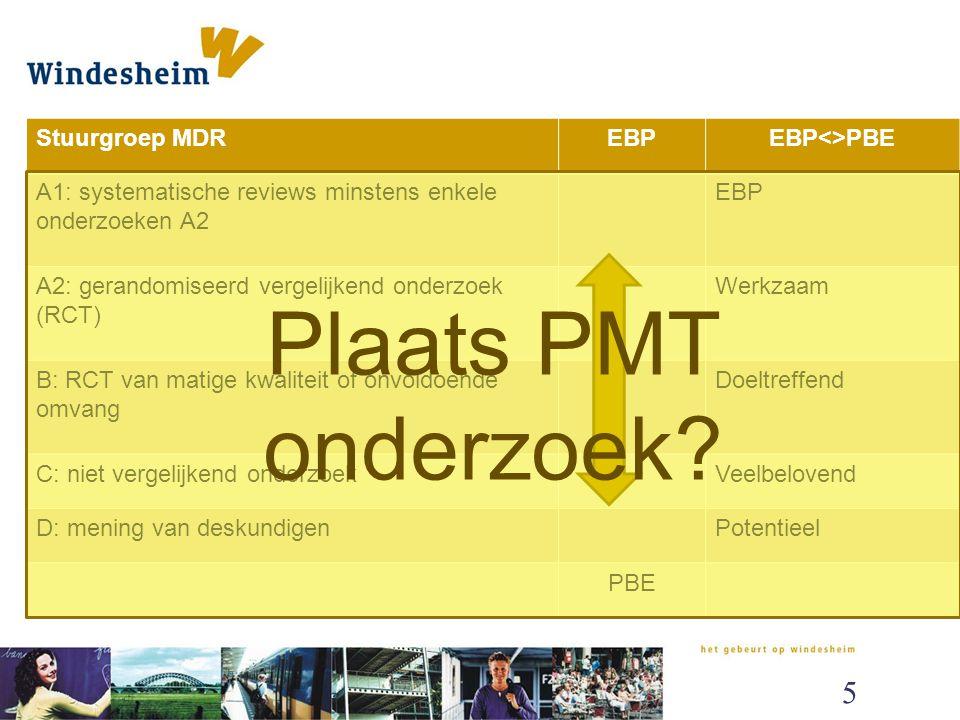 Plaats PMT onderzoek EVP en PBE vergeleken Stuurgroep MDR EBP