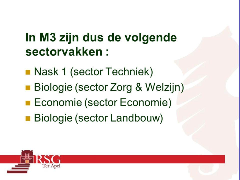In M3 zijn dus de volgende sectorvakken :