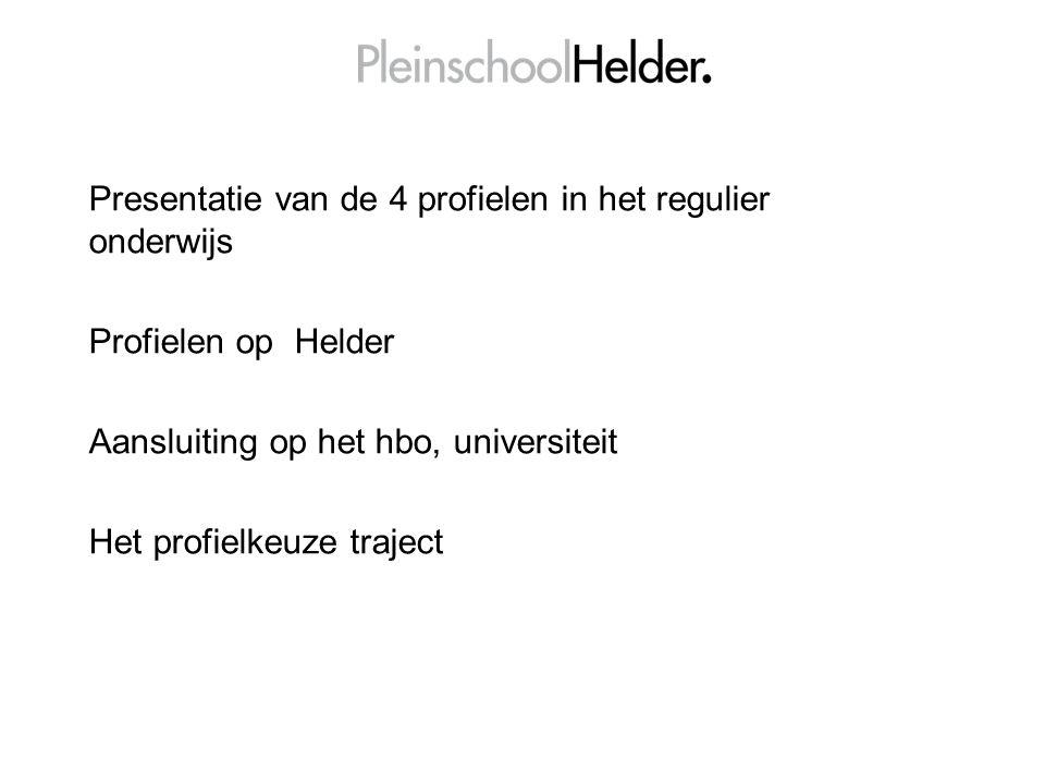 Presentatie van de 4 profielen in het regulier onderwijs