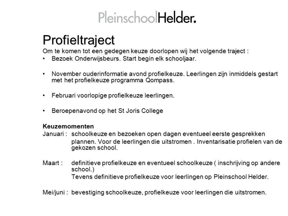 Profieltraject Om te komen tot een gedegen keuze doorlopen wij het volgende traject : Bezoek Onderwijsbeurs. Start begin elk schooljaar.